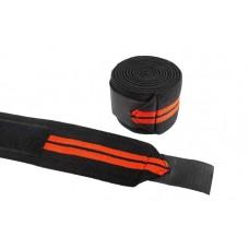 Be First Бинты коленные черные с красным 2 метра (арт 498)